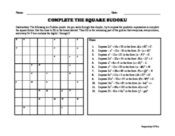 Completing The Square - Sudoku Puzzle