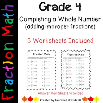 Completing a Whole Number (Ading Improper Fractions)