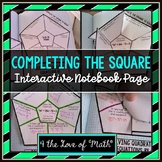Solving Quadratic Equations by Completing the Square Interactive Notebook Page