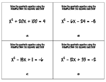 Completing the Square Add 'Em Up
