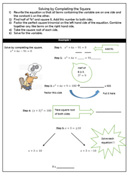 Completing the Square (Complex number solutions) Guided Notes and HW