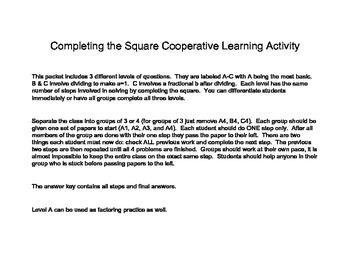 Completing the Square Cooperative Activity