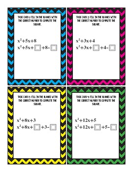 Completing the Square Fill in the Blanks Task Cards