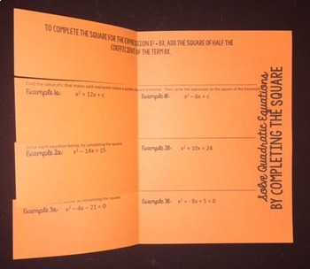 Completing the Square (Foldable)