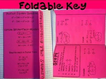Completing the Square Foldable, INB, Practice Workshee, & Exit Ticket