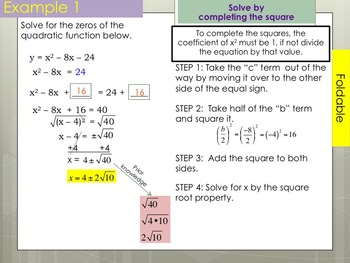 Completing the Square Foldable for Interactive Notebooks PowerPoint Presentation