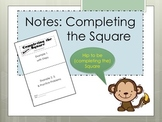 Completing the Square Foldable for Interactive Notebooks P