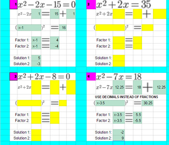Completing the Square - Google Classroom - 1-to-1 - Conditional Formatting