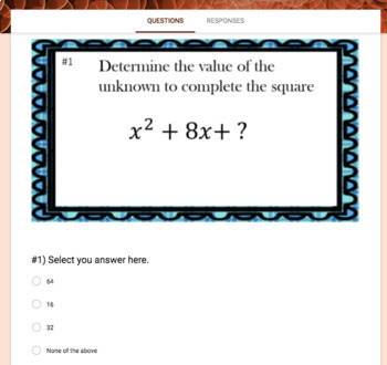 Completing the Square (Google Form, Interactive Video Lesson & Notes)