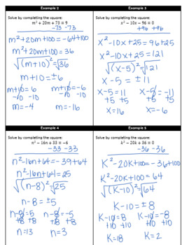 Completing the Square Guided Notes and HW by Algebra Crazy | TpT