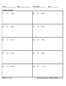 Completing the Square  (HI Practice Sheets)