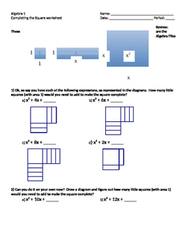 Completing the Square Introduction worksheet by Kat Loves Math | TpT