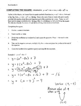 Completing the Square: Lesson Notes & Worksheet