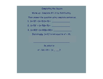 Completing the Square Lesson with Examples PDF
