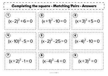 Completing the Square - Matching activity