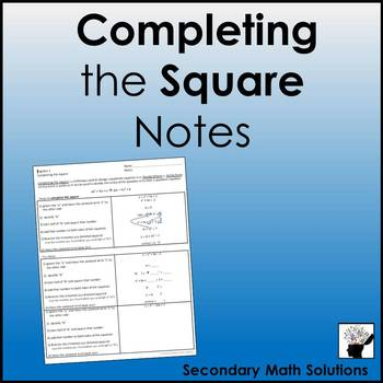 Completing the Square Notes