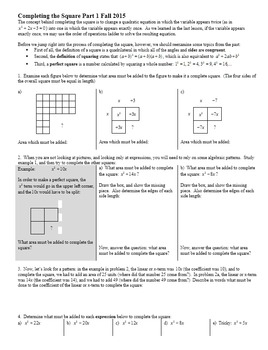Completing the Square Part 1 Fall 2015 (Editable)