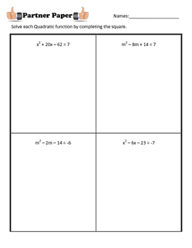 Completing the Square Partner Paper