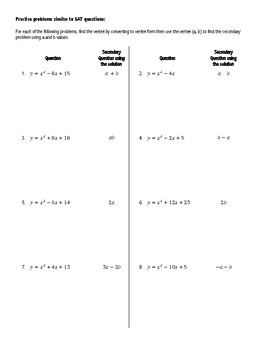 Completing the Square SAT Practice