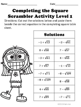 Completing the Square Scramble Puzzle Activity