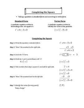 Completing the Square - Step by Step