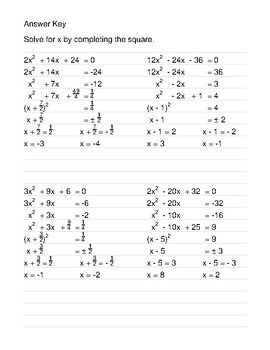Completing the Square Worksheet Bundle