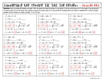Completing the Square a=1, No fractions or radicals: T3 Tic Tac Toe Math