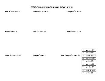 Completing the Square~Color by Numbers