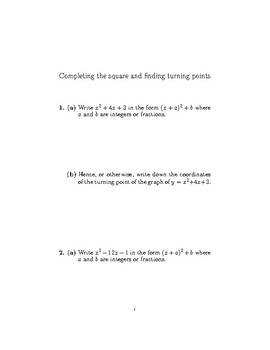 Completing the square and finding turning points