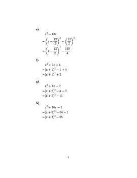 Completing the square and solving quadratic equations by completing the square