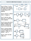 Completing the square guided notes graphic organizer
