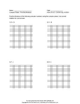 Complex Conjugate - Find the Conjugate, Moduli, and Quotients of Complex Numbers