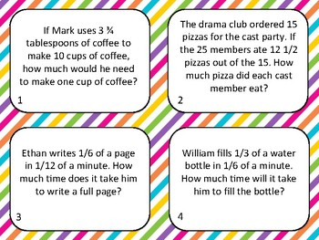 Complex Fraction Word Problem Task Cards