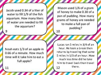 Complex Fraction Word Problem Task Cards