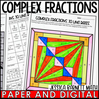 Complex Fractions to Unit Rates Coloring Page Activity
