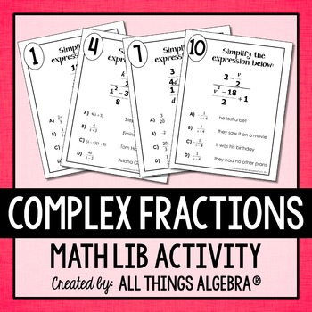 Complex Fractions Math Lib By All Things Algebra Tpt