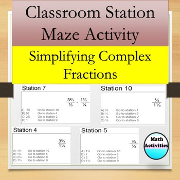 Complex Fractions Station Maze Activity