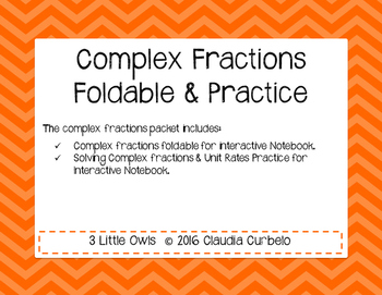 Complex Fractions Student Interactive Notebook