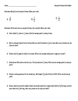 Complex Fractions Unit Rates Word Problems By Middle School Math
