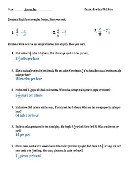 Complex Fractions/Unit Rates: Word Problems