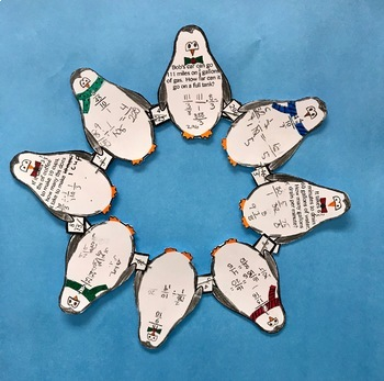 Complex Fractions + word problems Self Checking Winter Penguin Wreath