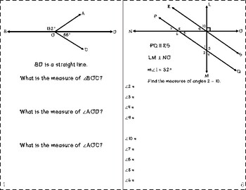 Complex Intersecting Lines and Angle Measures Foldable