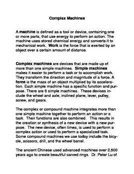 Complex Machines Common Core Reading and Writing Activities