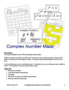 Complex numbers maze worksheet answers