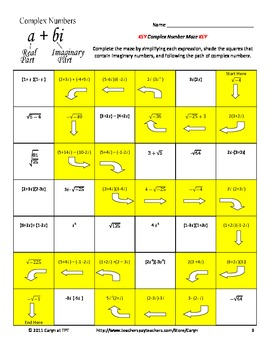 complex number imaginary maze review worksheet by caryn loves math. Black Bedroom Furniture Sets. Home Design Ideas