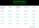 Complex Number Jeopardy (USE WITH KEYNOTE)