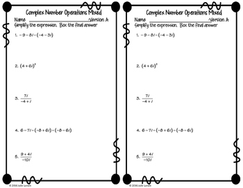 Complex Numbers: Mixed Opeartions Fluency Check : No Prep Fluent in Math