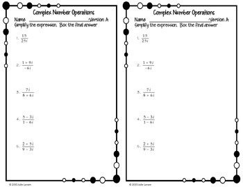 Complex Number Operations: Division Fluency Check : No Prep Fluent in Math