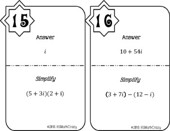 Complex Number Operations Scavenger Hunt (without division)