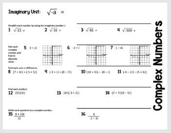 Complex Numbers (Algebra 2 Foldable)